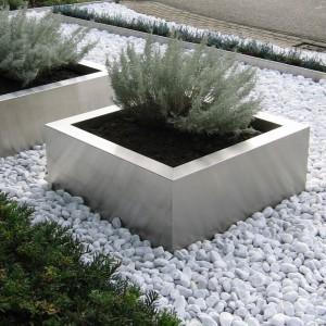 RVS bloembakken: Bloembak vierkant 80x80x40 cm
